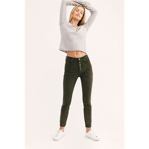 Free People Sun Chaser Corduroy Skinny Pants Olive